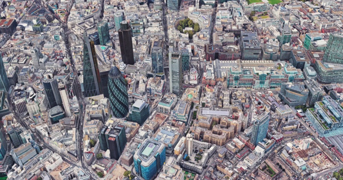 4K Flying Over London City Downtown