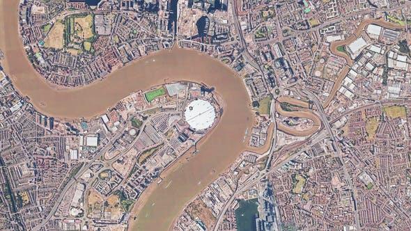 4K Thames River London Birdseye View