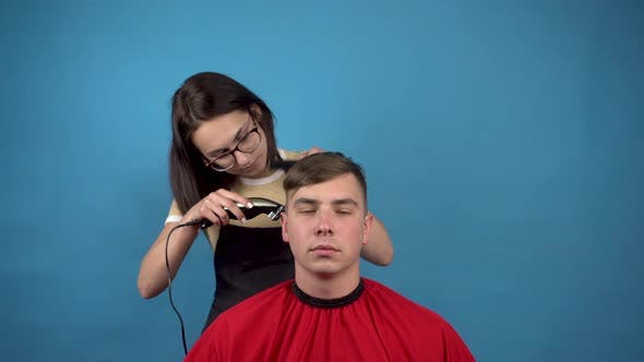 Thumbnail for Hairdresser Hairstyle Spoiled Young Man. A Young Woman Accidentally Cut Off a Lot of the Hair on the