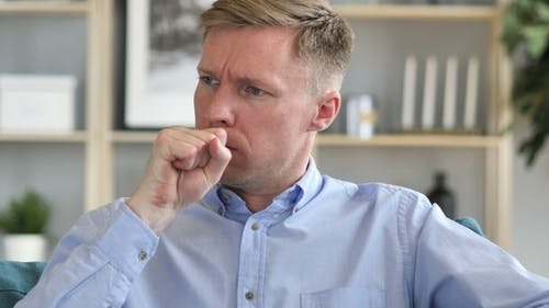 Cough, Portrait of Sick Businessman Coughing at Work