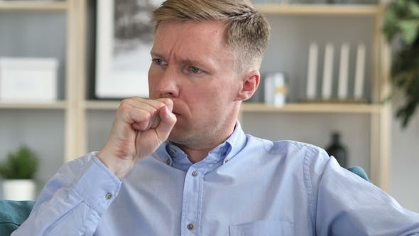 Thumbnail for Cough, Portrait of Sick Businessman Coughing at Work