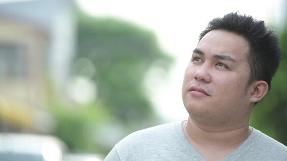 Thumbnail for Young Handsome Overweight Asian Man in the Streets Outdoors