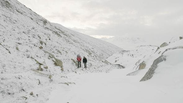 Backpackers on the Larke Pass in Nepal, 5100m Altitude