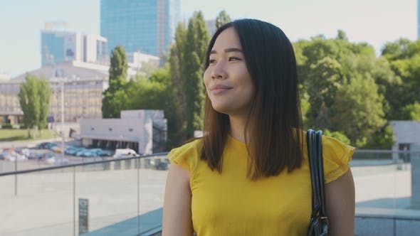 Thumbnail for Happy Asian Business Girl Smiling While Walking