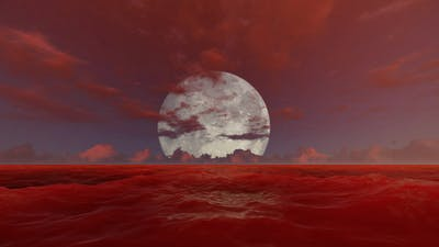 Blood Ocean With Full Moon