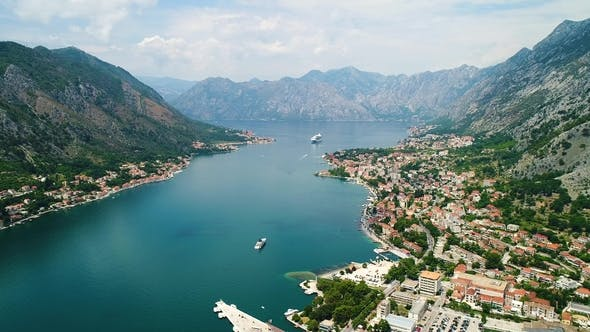 Thumbnail for Aerial Beautiful View of Kotor Bay. Cruise Ship Docked in Beautiful Summer Day