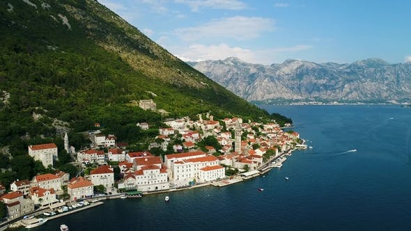 Thumbnail for Aerial Beautiful View at Perast Town. Montenegro