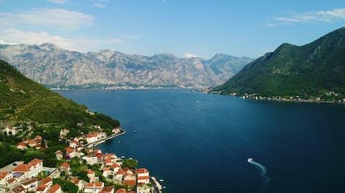 Aerial Beautiful View at Perast Town. Montenegro