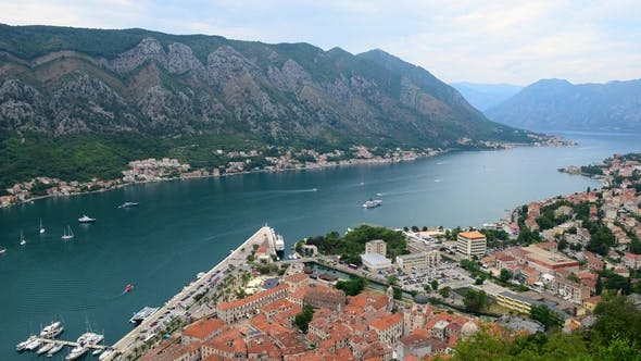 View of Kotor Old Town From Lovcen Mountain in Kotor, Montenegro. Kotor Is Part of the Unesco World