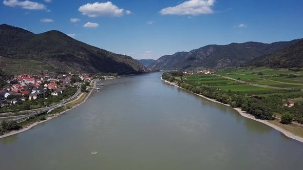 Aerial of Wachau Valley Austria