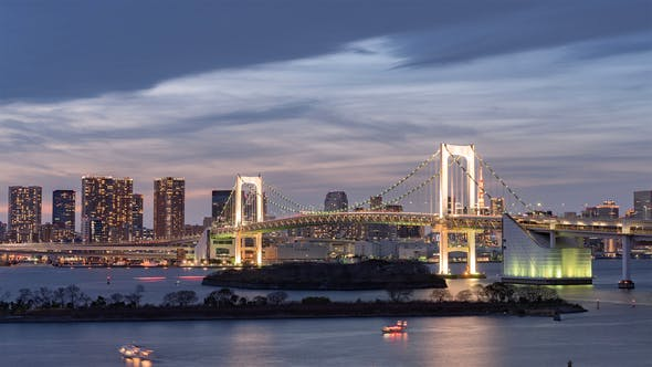 Thumbnail for Tokyo, Japan, Timelapse  - The Rainbow Bridge of Tokyo from Day to Night