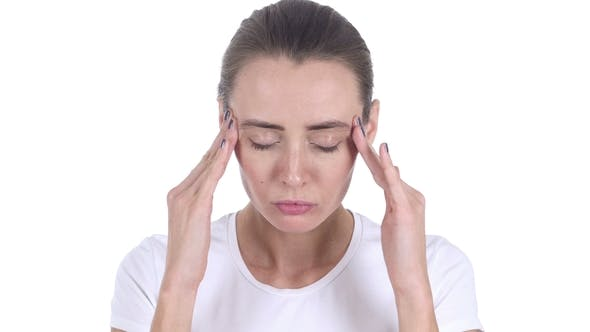 Thumbnail for Portrait of Middle Aged Woman Gesturing Headache, Stress