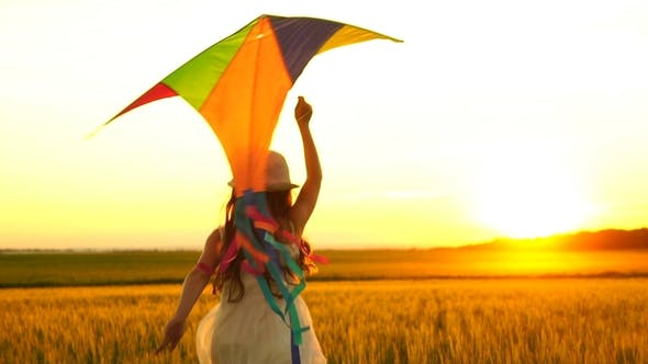 Thumbnail for Girl Running Around with a Kite on the Field.