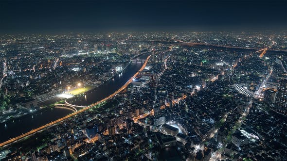 Cover Image for Tokyo, Japan, Timelapse  - The North of Tokyo s city traffic at Night from the Sky Tree Tower