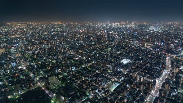 Thumbnail for Tokyo, Japan, Timelapse  - Shibuya at Night from the Sky Tree Tower Wide Angle