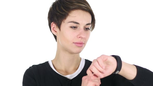 Thumbnail for Woman Using Smartwatch for Browsing, White Background