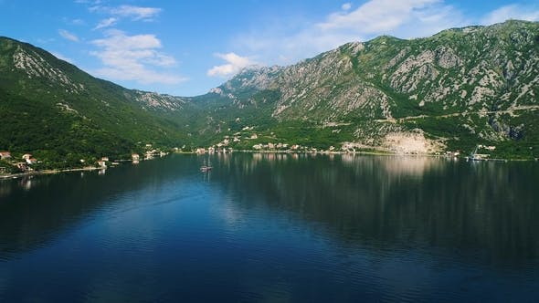Aerial View of the Kotor Bay and Villages Along the Coast