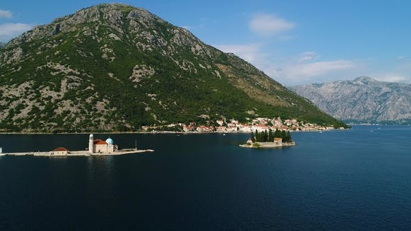 Aerial View of the Our Lady of the Rocks Church and Island of Sveti Djordje in the Kotor Bay Near