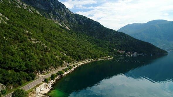 Thumbnail for Aerial View of the Mountain Roads Near Kotor Bay and Villages Along the Coast