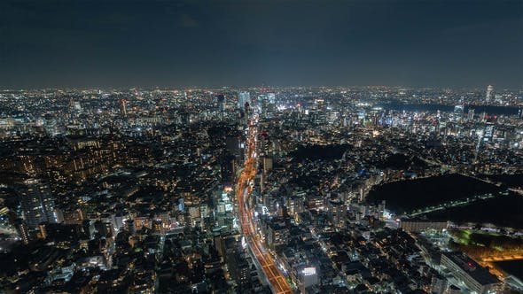 Thumbnail for Tokyo, Japan, Timelapse  - Tokyo's skyline from day to night from the Mori Museum Wide Angle