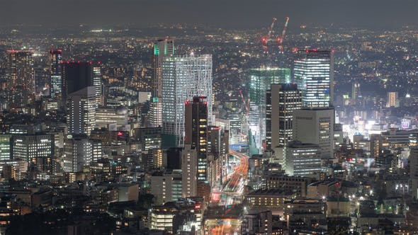 Thumbnail for Tokyo, Japan, Timelapse  - Shibuya by night from the Mori Museum