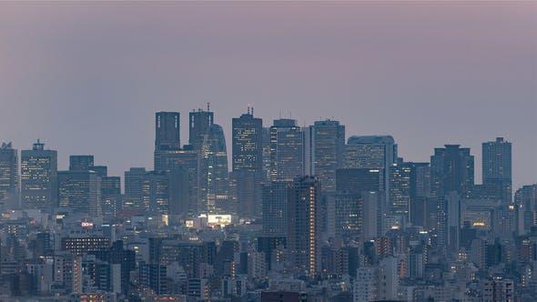 Thumbnail for Tokyo, Japan, Timelapse  - The skyline of Shinjuku in Tokyo filmed from the Bunkyo Civic Center