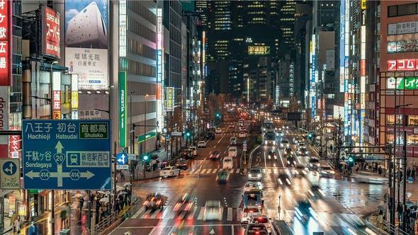 Thumbnail for Tokyo Japan Timelapse Shinjuku's Streets at Night