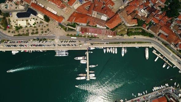 Aerial Top View of Old Town Kotor and Boka Kotorska Bay on the Adriatic Sea in Summer. Bay of Kotor