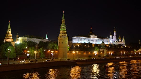 Thumbnail for Moscow, Night View of the Kremlin.