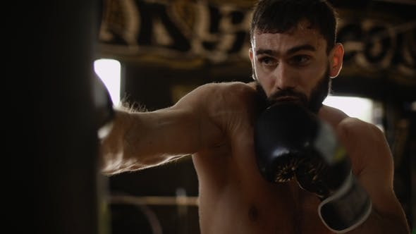 Thumbnail for Adult Boxer in Black Boxing Gloves Hitting Punching Bag
