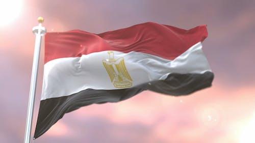 Flag of Egypt at Sunset