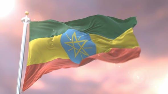 Flag of Ethiopia at Sunset