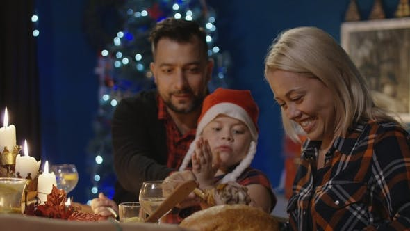 Cover Image for Reunited Family Having Christmas Holiday Celebration