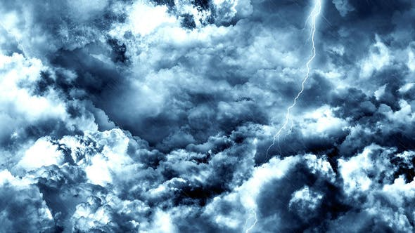 Thumbnail for Flying Through Abstract Dark Night Thunder Clouds with Lightning Strikes