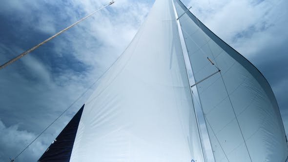Thumbnail for Sailing in the Wind. Full Sails, Very Strong Wind. Ocean Race, Real Adventure. Storm Day. Sun Sails