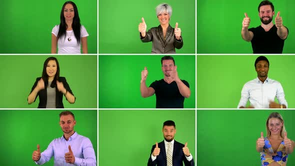 Thumbnail for Compilation (Montage) - Group of People Show Thumbs on Agreement - Green