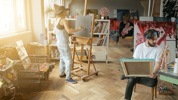 Thumbnail for Two Artists Paint in Studio