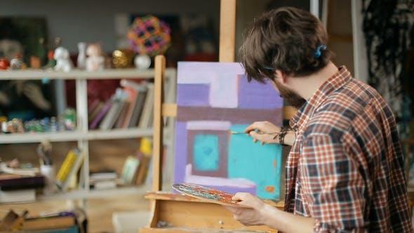 Thumbnail for Artist Paints Modern Artwork