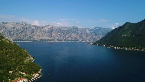 Aerial Veiw From Perast Town To Boko-kotor Bay. Montenegro