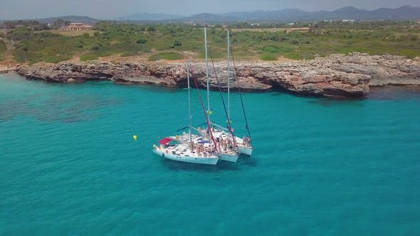 Thumbnail for Yacht Sailing on Open Sea at Sunny Day. Sailing Boat in . Sailing Aerial  Video