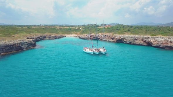 Thumbnail for Top View of the Sailing Boats in Blue Lagoon