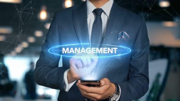 Thumbnail for Businessman Smartphone Hologram Word   Management