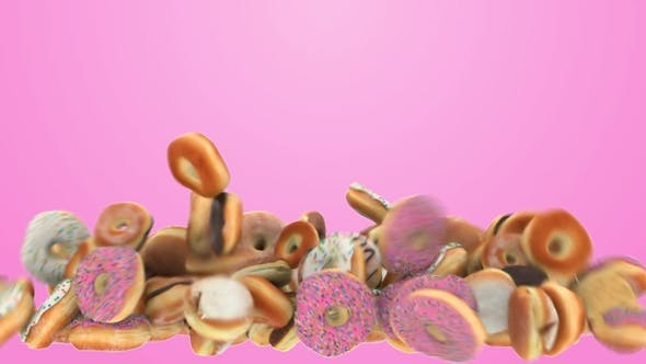 Thumbnail for Falling Different Donuts on a Pink Background