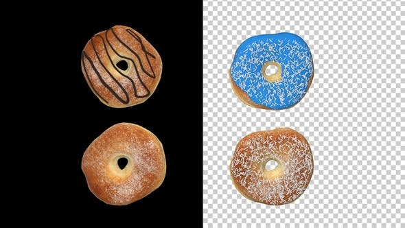 Different Donuts with Alpha Chanel