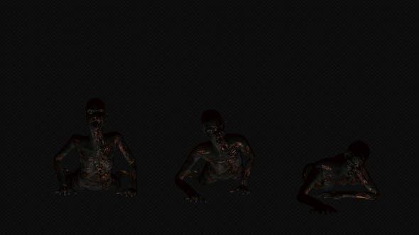 Female Burned Zombie Crawl
