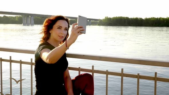 Thumbnail for Summer Beach Vacation Girl Taking Fun Mobile Selfie Photo with Smartphone.