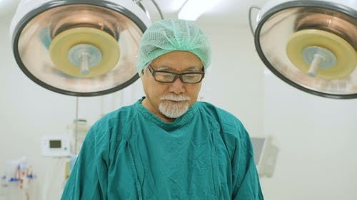 Portrait of Senior Male Surgeon in Operating Theater.