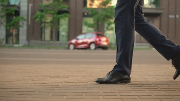 Thumbnail for Male Legs in Casual Outfit Walking on Pavement Stones