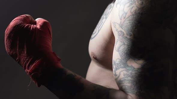 Thumbnail for Tattooed Muscular Boxer Showing Thumbs Up Before Fight, Slow-Motion, Close-Up