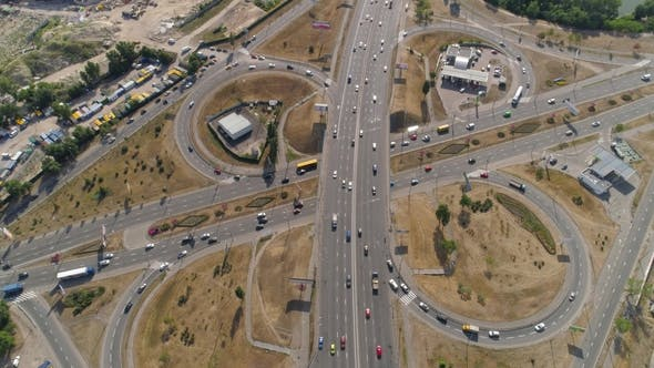 Flying Over the Complex Road Junction. FullHD